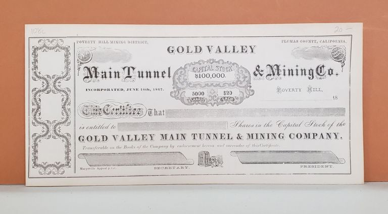 Main Tunnel & Mining Co. Share Certificate. Main Tunnel, Mining Co.