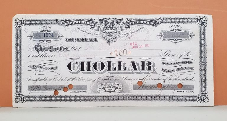Chollar Gold and Silver Mining Company Share Certificate No. 1074. Chollar Gold, Silver Mining Company.