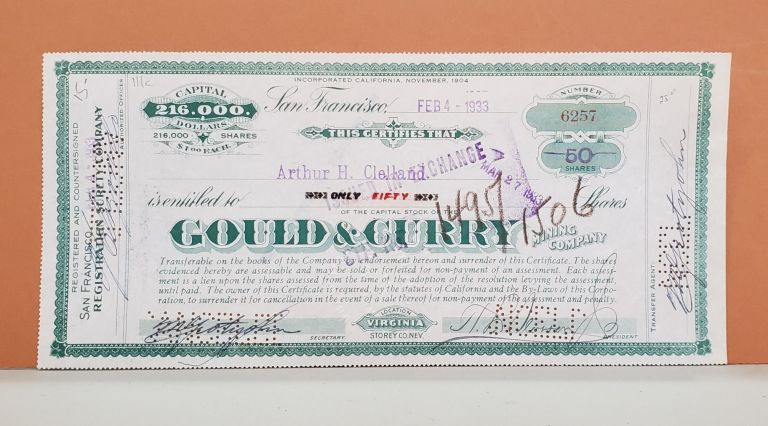 Gould & Curry Mining Company Share Certificate No. 6257. Gould, Curry Mining Company.