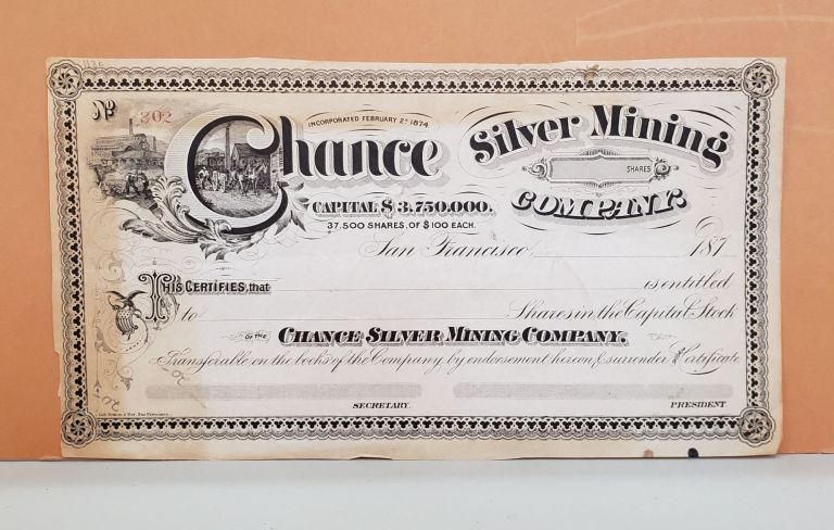 Chance Silver Mining Company Share Certificate No. 302. Chance Silver Mining Company.