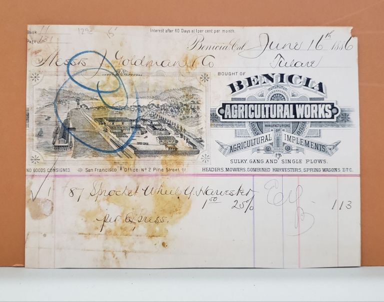 Benicia Agricultural Works Receipt. Benicia Agricultural Works.