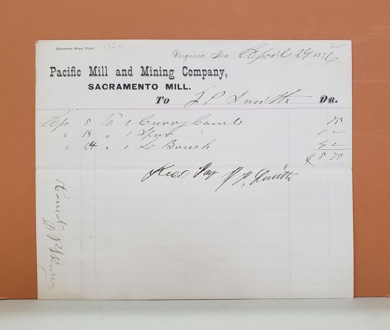 Pacific Mill and Mining Company Receipt. Pacific Mill, Mining Company.