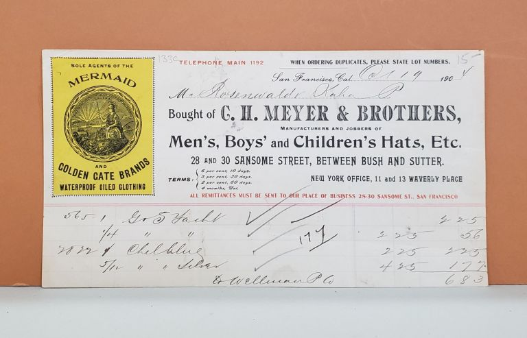 C. H. Meyer & Brothers Receipt. C. H. Meyer, Brothers.