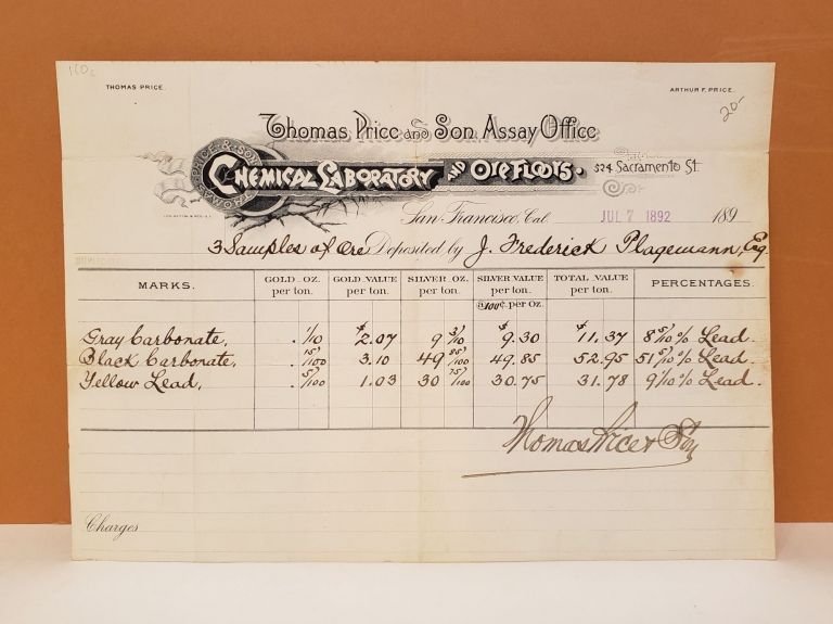 Thomas Price and Son, Assay Office Assay Report. Thomas Price, Assay Office Son.