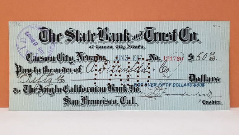 The State Bank and Trust Co. Check No. 121720. The State Bank, Trust Co.