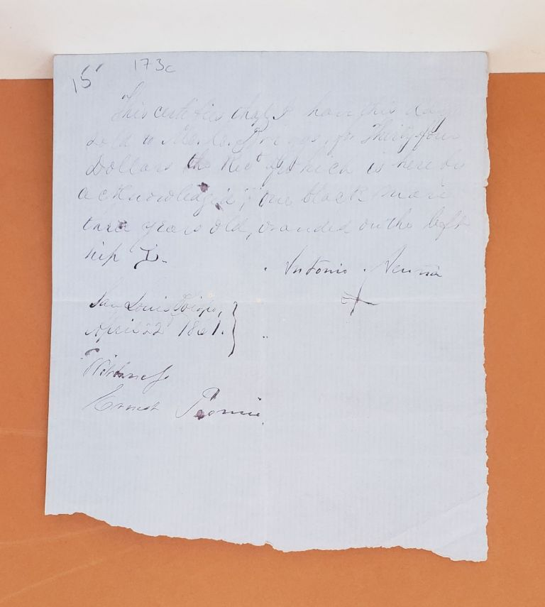 Receipt for the Sale of One Blank Mare. Antonio Avina.