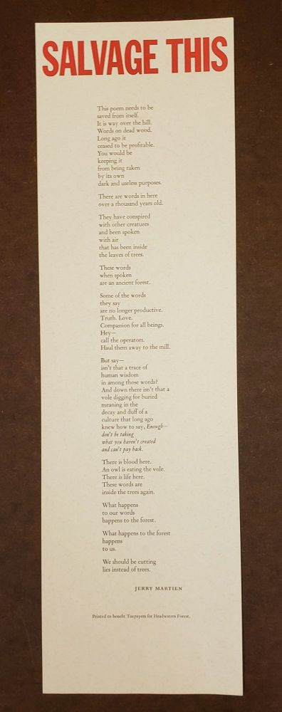 Salvage This (Broadside). Jerry Martien.