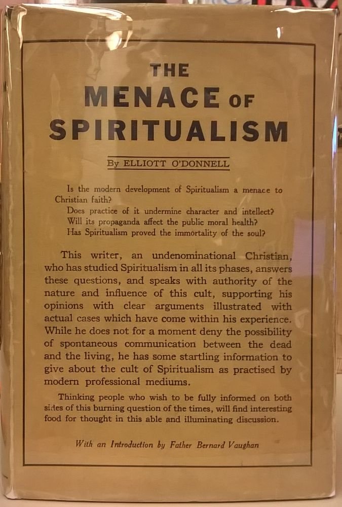 The Menace of Spiritualism. Elliott O'Donnell.