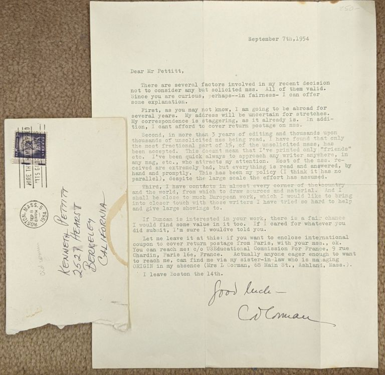 Typed letter, signed by Cid Corman. Cid Corman.
