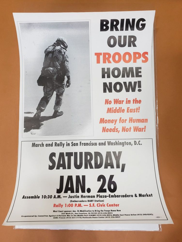 1991 Anti-War Protest Poster. Jan. 26 Mobilization to Bring the Troops Home Now.
