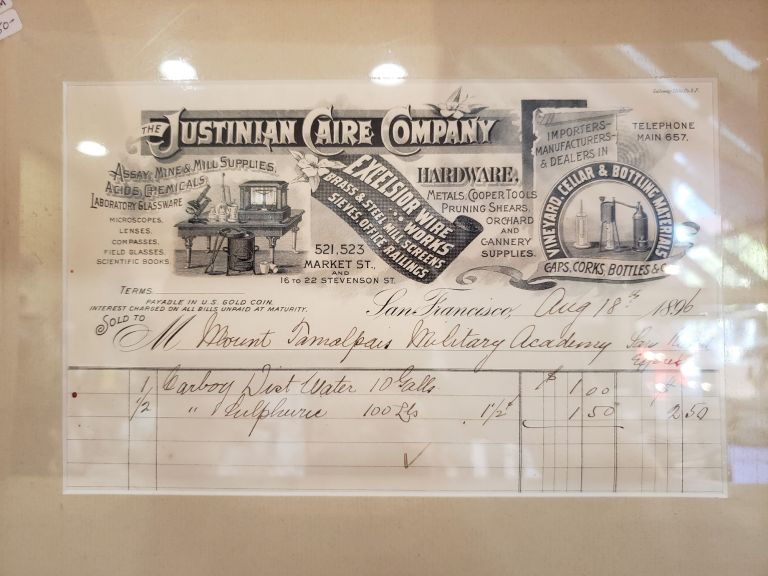 Invoice to Mount Tamalpais Military Academy. The Justinian Caire Company.