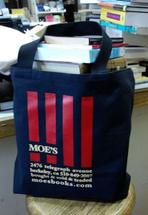 Moe's Canvas Bag (Black Stripes). Moe's Books