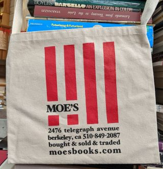 Bike Bag (natural stripes). Moe's Books