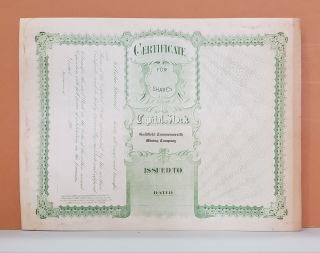 Goldfield Commonwealth Mining Company Share Certificate No. 2573