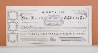 Main Tunnel & Mining Co. Share Certificate. Main Tunnel, Mining Co