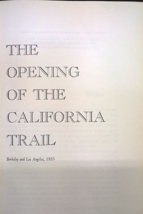 The Opening of the California Trail