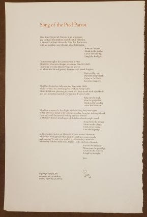 Song of the Pied Parrot (Broadside). Jess