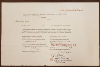 Driving Immediately Past (Broadside). Philip Whalen