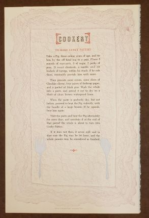 Cookery: To Make Gosky Patties (Broadside). Graham Mackintosh Noel Young