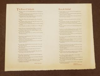 The Rose of Solitude / Rosa de Soledd (Broadside). Brother Antoninus William Everson, Catherine...