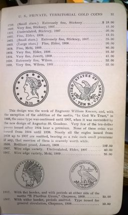 Adams' Official Premium List of United States Private and Territorial Gold  Coins Indicated by Prices Brought at Public Coin Sales by Edgar H  Adams on
