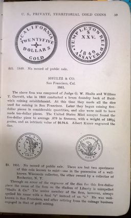 Adams' Official Premium List of United States Private and Territorial Gold Coins Indicated by Prices Brought at Public Coin Sales