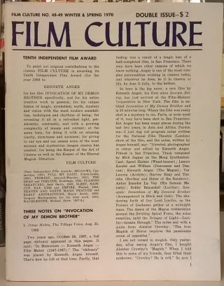 Film Culture No. 48-49, Winter & Spring 1970. Film Culture