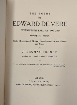 The Poems of Edward de Vere, Seventeenth Earl of Oxford